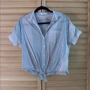 Madewell striped central top with tie front